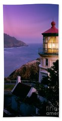 Moon Over Heceta Head Beach Towel