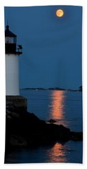 Moon Over Winter Island Salem Ma Beach Towel