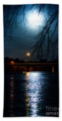 Moon Set Lake Pleasurehouse Beach Towel