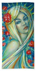 Moonlight Flowers 030311 Beach Towel by Selena Boron