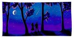 Beach Towel featuring the painting Moonlight Walk by Sophia Schmierer