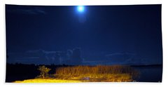 Moonrise Over Rochelle - Landscape Beach Sheet
