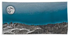 Beach Towel featuring the photograph Moonrise Over The Mountain by Don Schwartz