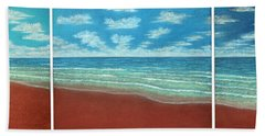 Moonset Triptych Beach Towel