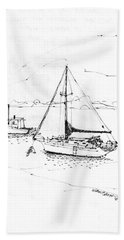 Moored Boats Monhegan Island Beach Towel