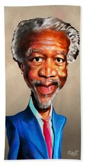 Morgan Freeman Beach Towel by Anthony Mwangi
