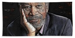 Beach Towel featuring the painting Morgan Freeman  by Georgeta Blanaru