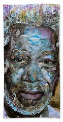 Beach Towel featuring the painting Morgan In Blue by Laur Iduc