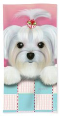 Beach Towel featuring the mixed media Morkie Shelly by Catia Lee