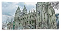 Mormon Temple In Early Spring Beach Towel by Gary Holmes