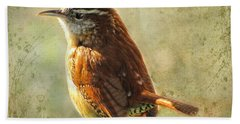 Morning Carolina Wren Beach Towel by Debbie Portwood