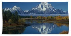 Morning Cloud Layer Oxbow Bend In Fall Grand Tetons National Park Wyoming Beach Towel
