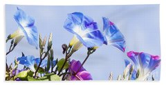 Morning Glory Flowers Beach Sheet