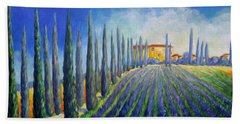 Lavender Field Beach Towel
