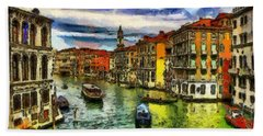 Beach Sheet featuring the painting Beautiful Morning In Venice, Italy by Georgi Dimitrov
