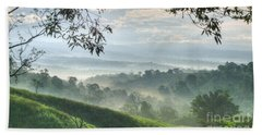 Beach Towel featuring the photograph Morning Mist by Heiko Koehrer-Wagner