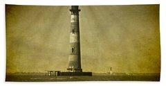 Morris Island Light Vintage Bw Uncropped Beach Towel
