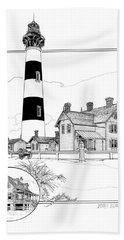 Beach Towel featuring the drawing Morris Island Lighthouse by Ira Shander