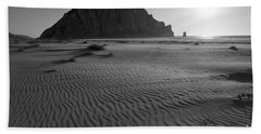Morro Rock Silhouette Beach Towel