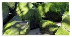 Moss On The Rocks Beach Towel