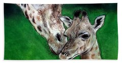 Mother And Baby Giraffe Beach Towel