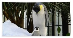 Mother Penguin And Baby Beach Sheet by Jeannie Rhode