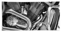 Motorcycle Close-up Bw 1 Beach Towel