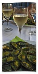 Beach Towel featuring the photograph Moules And Chardonnay by Allen Sheffield