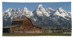 Moulton Barn - Grand Tetons I Beach Sheet by Sandra Bronstein