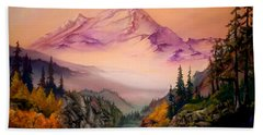 Beach Sheet featuring the painting Mount Baker Morning by Sherry Shipley