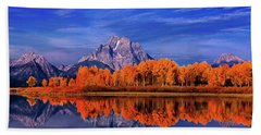 Beach Towel featuring the photograph Mount Moran And Fall Color Grand Tetons by Dave Welling