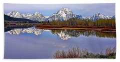 Mount Moran And Jackson Lake Beach Towel by Gary Holmes