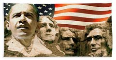 Obama Mount Rushmore Beach Sheet by Art America Gallery Peter Potter
