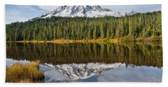 Beach Towel featuring the photograph Mount Rainier And Reflection Lakes In The Fall by Jeff Goulden