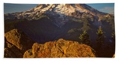 Beach Towel featuring the photograph Mount Rainier At Sunset With Big Boulders In Foreground by Jeff Goulden