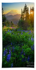 Mount Rainier Sunburst Beach Sheet by Inge Johnsson