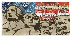 Mount Rushmore Monument Vintage Recycled License Plate Art Beach Towel by Design Turnpike