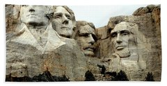 Mount Rushmore Presidents Beach Towel by Clarice  Lakota