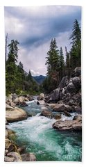 Mountain Emerald River Photography Print Beach Towel