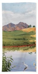 Mountain Landscape With Egret Beach Towel