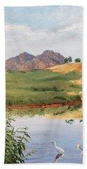 Mountain Landscape With Egret Beach Sheet