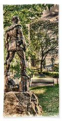 Mountaineer Statue At Lair Beach Towel by Dan Friend