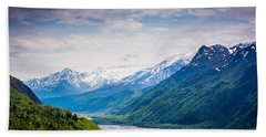 Mountains Along Seward Highway Beach Sheet by Andrew Matwijec
