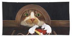 Beach Towel featuring the painting Mouse House by Karen Zuk Rosenblatt