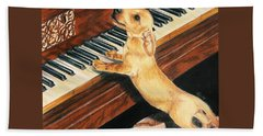 Beach Towel featuring the drawing Mozart's Apprentice by Barbara Keith