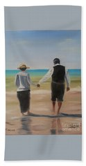 Beach Towel featuring the painting Mr. Carson And Mrs. Hughes by Bev Conover
