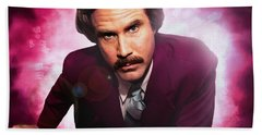 Mr. Ron Mr. Ron Burgundy From Anchorman Beach Towel