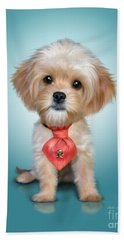 Beach Towel featuring the mixed media Mr. Toby Waffles The Cavapoo by Catia Lee