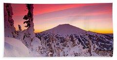 Mt. Bachelor Winter Twilight Beach Sheet