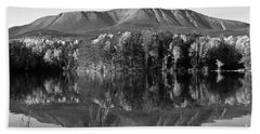 Mt Katahdin Black And White Beach Towel